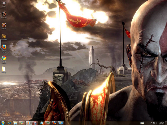Download Free god Of War 3 Windows 7 Theme With goW III Sounds ,Icons , Cursors ScreenSaver & Font