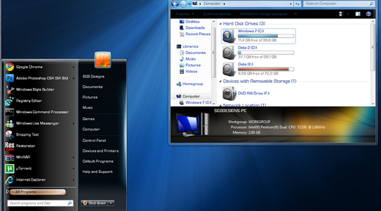 SteelFlash Reborn Windows 7 Theme 3rd Party