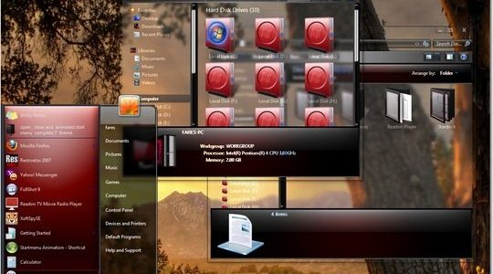 Clear Glass Metallic Red Windows 7 3rd Party Theme