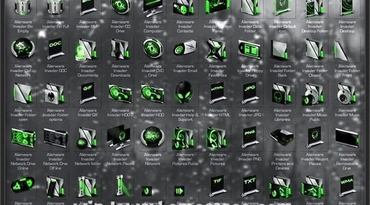 Invader Green Windows Icons Pack